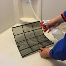 洗剤をかける